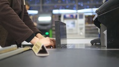 Cash desk with cashier and terminal in hypermarket. Working of cashier Arkistovideo