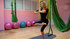 Girl yoga instructor does exercises Stock Footage