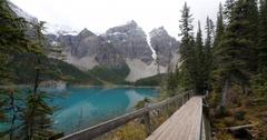 Caucasian hiker at mountain lake, Lake Louise, Alberta, Canada Stock Footage