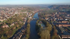 Aerial view of Bridgnorth, UK. Stock Footage