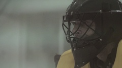 An ice hockey goalie protects his goal, super slow motion. Stock Footage