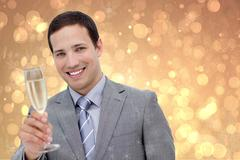 Happy Businessman with Champagne on Blurry Background Design Stock Photos