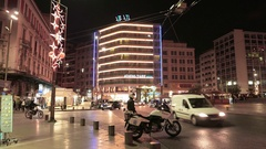 4K Police traffic check point Omonia square night Athens Greece Europe Stock Footage