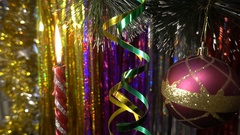 Christmas and new year decoration. Hanging Bauble close. Christmas Lights Stock Footage