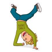 Kid dancing breakdance. Vector. Stock Illustration