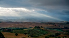 Cloudy morning in the Tuscan hills at San Quirico d'Orcia Stock Footage