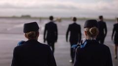 Shot of crew walking to plane Stock Footage