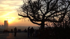 Silhouettes of people at sunset Stock Footage