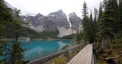 Scenic view of footbridge at Lake Louise, Alberta, Canada Stock Footage
