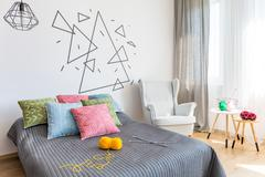 Bedroom with knitting accessories Stock Photos