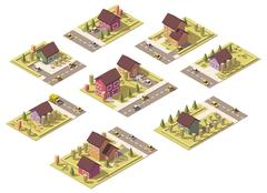 Vector isometric low poly suburban buildings Stock Illustration