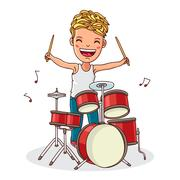 Kid plays the drums Stock Illustration