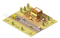 Vector isometric low poly farmers food store Piirros