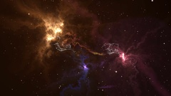 Flying into 3D fantastic colorful nebula galaxies evolving in deep space Stock Footage