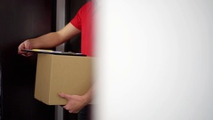 Home delivery service - man signing receipt of delivery package Stock Footage