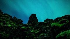 Aurora borealis volcanic landscape hyperlapse time lapse loop Iceland 4k Stock Footage