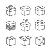 Vector Gift Box Icons, Holiday Presents Stock Illustration