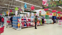 Moscow, Russia - December 08.2016. Sale of Christmas goods in store Leroy Merlin Stock Footage