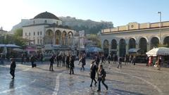 4K Aerial Monastiraki Metro square Tsisdarakis Mosque and Acropolis Athens Stock Footage