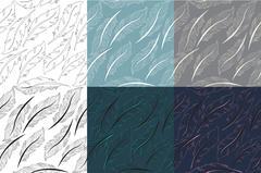 Feathers Bird seamless pattern set. Retro, doodle style. Feather endless ba.. Stock Illustration
