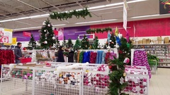 Moscow, Russia - December 08.2016. Sale of Christmas trees and Christmas goods Stock Footage