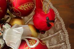 Cardinal Decoration and Decorative Christmas Balls, Close Stock Photos