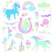 Light green and aquamarine unicorns with  sweets  roses on white background Stock Illustration