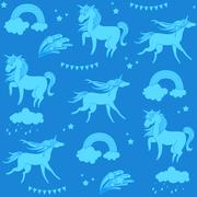 Aquamarine unicorns with clouds, rainbow and stars on a blue background Stock Illustration