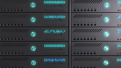 Working data servers. LED lights are flashing. Camera zoom Stock Footage