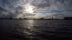 Dramatic Sky Over The Port of Rotterdam Stock Footage