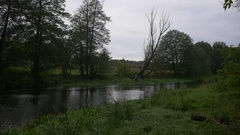 Calm river during cloudy, autumn day. UHD footage.  Stock Footage