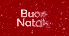 "Merry Christmas text in Italian ""Buon Natale"" formed from dust and turns to dust Stock Footage"