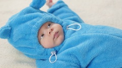 Cute 2-month-old baby boy. Close up. Stock Footage
