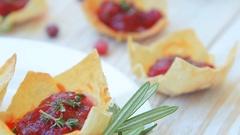 Festive cranberry brie mini tarts Stock Footage