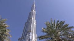 Burj Khalifa business center in Dubai seen from bottom to top perfect daylight Stock Footage