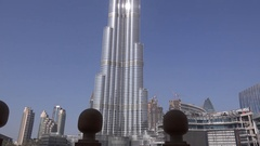 Modern skyscrapers in Dubai tallest building on earth Burj Khalifa Arabic luxury Stock Footage