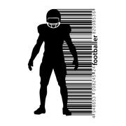Silhouette of a football player and barcode. Rugby. American footballer Stock Illustration