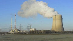 Nuclear power plant cooling towers Stock Footage