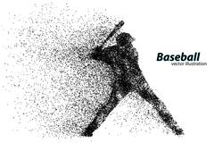 Silhouette of a baseball player from particle. Stock Illustration