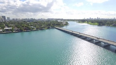 Aerial Broad Causeway and Bay Harbor Islands Stock Footage