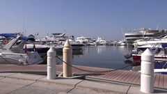 Emirates coast rich people yachts in harbor wealthy luxurious life Dubai Creek Stock Footage