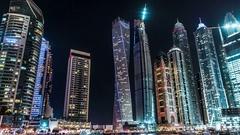 Dubai Marina at night. Up down shot.Time lapse. Stock Footage