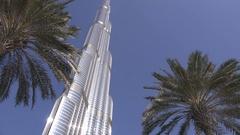 Burj Khalifa rising economy tower in Dubai wealthy landmark in Arabic Emirates  Stock Footage