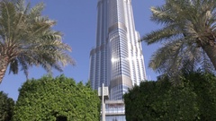 Real estate development in Dubai Burj Khalifa tower entrance corporate market 4K Stock Footage