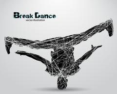 Silhouette of a break dancer. Stock Illustration