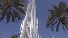 Daylight view Burj Khalifa enormous business center perfect glass building 4K Stock Footage