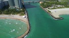Aerial tour Haulover Miami inlet Stock Footage