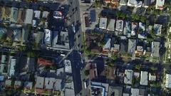 City Grid Aerial Shot of Los Angeles La Cienega Blvd Stock Footage