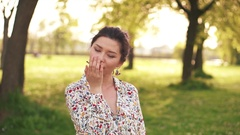 Beauty Girl Outdoors enjoying nature Stock Footage
