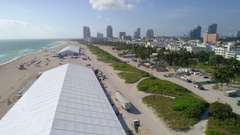 Art Basel tents on Miami Beach aerial video Stock Footage